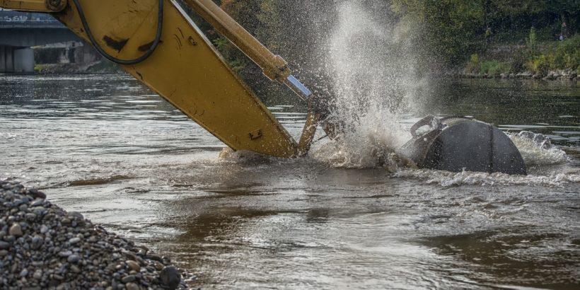 Wasser Fluss Bagger